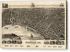 Antique Map Of Evansville Indiana By H. Wellge - 1888 Acrylic Print by Blue Monocle