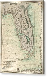 Acrylic Print featuring the drawing Antique Map Of Florida - 1780 by Blue Monocle