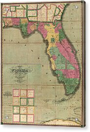 Antique Map Of Florida By I. G. Searcy - 1829 Acrylic Print