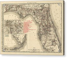 Antique Map Of Florida By Rand Mcnally And Company - 1900 Acrylic Print by Blue Monocle