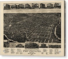 Antique Map Of Fort Worth Texas By H. Wellge - 1886 Acrylic Print by Blue Monocle