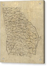 Acrylic Print featuring the drawing Antique Map Of Georgia - 1893 by Blue Monocle