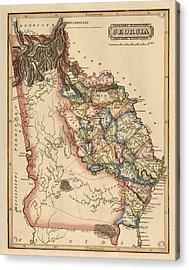 Antique Map Of Georgia By Fielding Lucas - Circa 1817 Acrylic Print