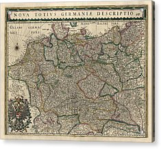 Acrylic Print featuring the drawing Antique Map Of Germany By Willem Janszoon Blaeu - 1647 by Blue Monocle