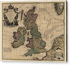 Antique Map Of Great Britain And Ireland By Guillaume Delisle - Circa 1730 Acrylic Print
