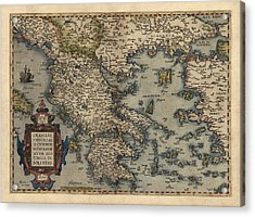Antique Map Of Greece By Abraham Ortelius - 1570 Acrylic Print