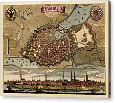 Antique Map Of Hamburg Germany By Pieter Schenk - Circa 1702 Acrylic Print by Blue Monocle