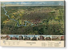 Antique Map Of Houston Texas - 1891 Acrylic Print by Blue Monocle