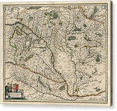 Acrylic Print featuring the drawing Antique Map Of Hungary By Willem Janszoon Blaeu - 1647 by Blue Monocle