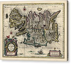 Acrylic Print featuring the drawing Antique Map Of Iceland By Willem Janszoon Blaeu - 1647 by Blue Monocle