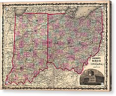 Antique Map Of Indiana And Ohio Acrylic Print