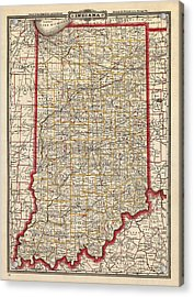 Antique Map Of Indiana By George Franklin Cram - 1888 Acrylic Print