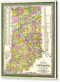 Antique Map Of Indiana Acrylic Print