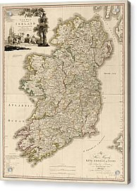 Antique Map Of Ireland By Daniel Augustus Beaufort - 1797 Acrylic Print by Blue Monocle