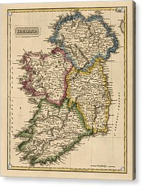Antique Map Of Ireland By Fielding Lucas - Circa 1817 Acrylic Print by Blue Monocle