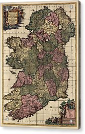 Antique Map Of Ireland By Frederik De Wit - Circa 1700 Acrylic Print