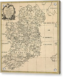 Antique Map Of Ireland By S. Thompson - Circa 1795 Acrylic Print by Blue Monocle