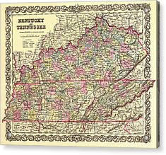 Antique Map Of Kentucky And Tennessee Acrylic Print