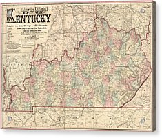 Acrylic Print featuring the drawing Antique Map Of Kentucky By James T. Lloyd - 1862 by Blue Monocle