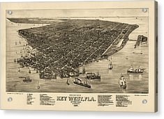 Antique Map Of Key West Florida By J. J. Stoner - 1884 Acrylic Print by Blue Monocle