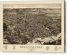 Antique Map Of Knoxville Tennessee By H. Wellge - 1886 Acrylic Print by Blue Monocle