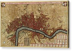 Antique Map Of London England By Robert Morden - 1700 Acrylic Print by Blue Monocle