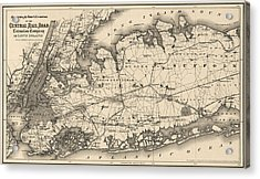 Acrylic Print featuring the drawing Antique Map Of Long Island And New York City - 1873 by Blue Monocle