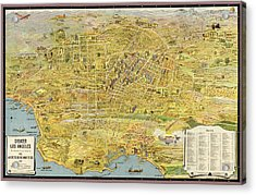 Antique Map Of Los Angeles California By K. M. Leuschner - 1932 Acrylic Print