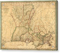 Acrylic Print featuring the drawing Antique Map Of Louisiana By John Melish - 1820 by Blue Monocle