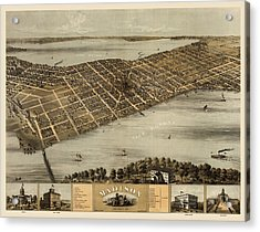 Antique Map Of Madison Wisconsin By A. Ruger - 1867 Acrylic Print by Blue Monocle