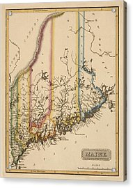 Antique Map Of Maine By Fielding Lucas - Circa 1817 Acrylic Print