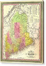 Antique Map Of Maine Acrylic Print