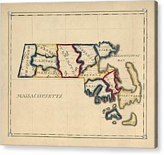 Antique Map Of Massachusetts By A. T. Perkins - Circa 1820 Acrylic Print by Blue Monocle