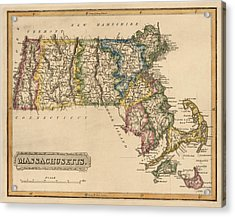 Antique Map Of Massachusetts By Fielding Lucas - Circa 1817 Acrylic Print by Blue Monocle