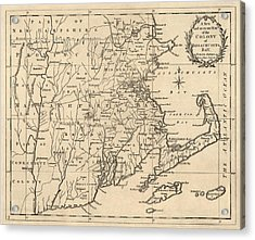 Antique Map Of Massachusetts By John Hinton - 1780 Acrylic Print by Blue Monocle
