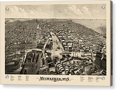 Antique Map Of Milwaukee Wisconsin By J.j. Stoner - 1879 Acrylic Print by Blue Monocle