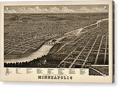 Antique Map Of Minneapolis Minnesota By A. Ruger - 1879 Acrylic Print by Blue Monocle