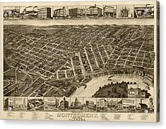 Antique Map Of Montgomery Alabama By H. Wellge - 1887 Acrylic Print by Blue Monocle