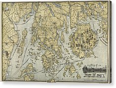 Antique Map Of Mount Desert Island And The Coast Of Maine - Circa 1900 Acrylic Print by Blue Monocle