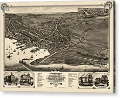 Antique Map Of Nantucket Massachusetts By J.j. Stoner - 1881 Acrylic Print by Blue Monocle