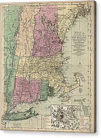 Antique Map Of New England By Carington Bowles - Circa 1780 Acrylic Print by Blue Monocle
