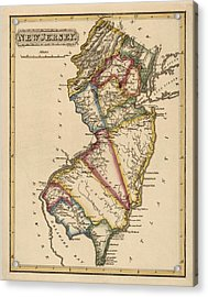 Antique Map Of New Jersey By Fielding Lucas - Circa 1817 Acrylic Print