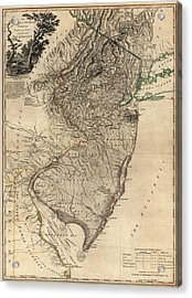 Antique Map Of New Jersey By William Faden - 1778 Acrylic Print by Blue Monocle