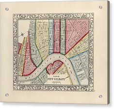Antique Map Of New Orleans Louisiana By Samuel Augustus Mitchell - 1863 Acrylic Print