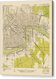 Antique Map Of New Orleans - Usgs Topographic Map - 1932 Acrylic Print by Blue Monocle