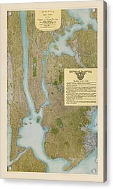 Antique Map Of New York City By C. P. Gray - 1913 Acrylic Print