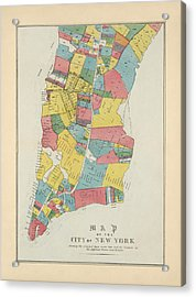 Antique Map Of New York City By George Hayward - 1852 Acrylic Print by Blue Monocle