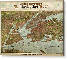 Antique Map Of New York City By Jacob Ruppert - 1912 Acrylic Print by Blue Monocle