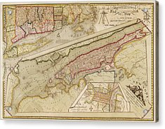 Antique Map Of New York City By John Randel - 1821 Acrylic Print