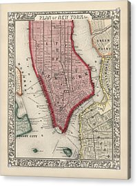 Antique Map Of New York City By Samuel Augustus Mitchell - 1863 Acrylic Print by Blue Monocle